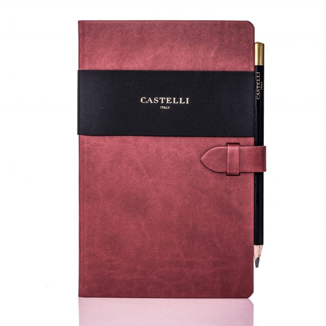 Red Mirabeau Medium Notebook Flat