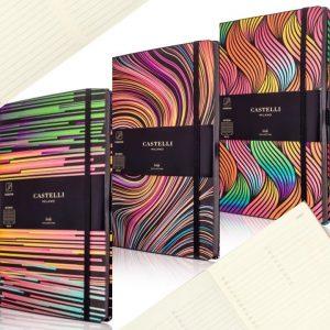 Multi-coloured designer notebooks